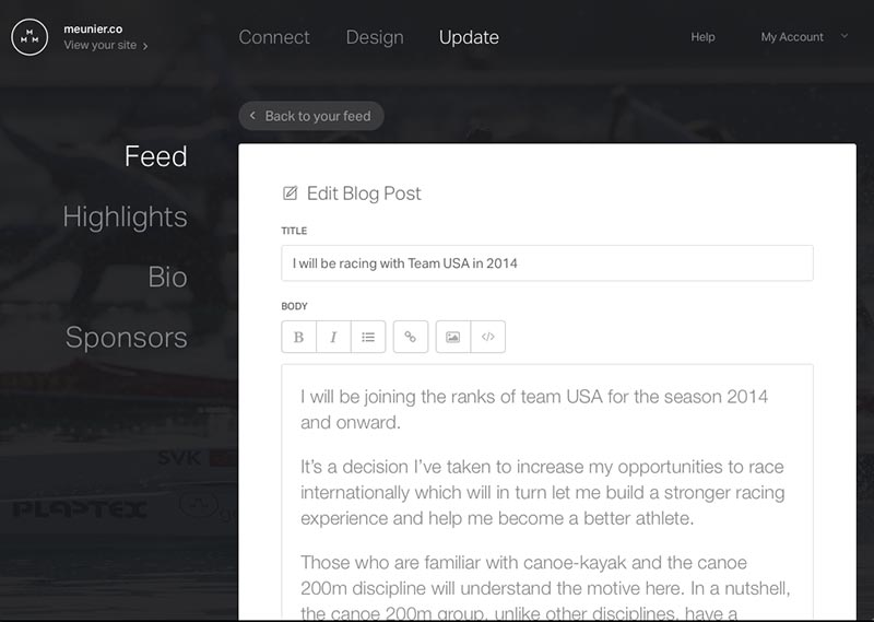 Preview of the blog posting UI